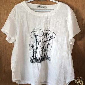 Cute embroidered linen blouse